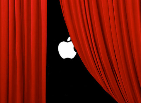 Apple Logo behind velvet curtain