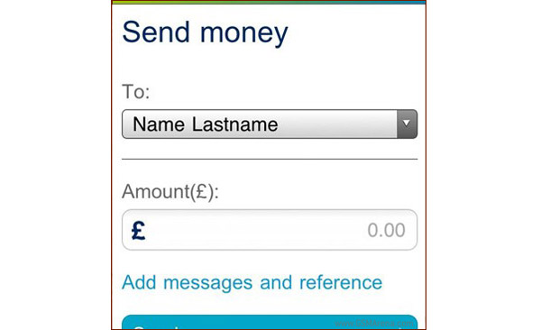 A screen of the payment options on Ericsson Money