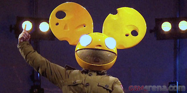 DJ Deadmau5 wearing some Swiss cheese headgear