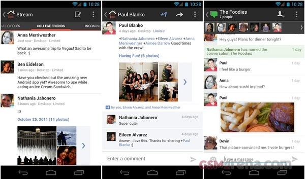 gsmarena 001 Google+ app for Android gets updated, brings new icon, search and +1 for photos and comments