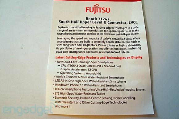 Fujitsu to unveil ICS smartphone with quad core Tegra 3 at CES