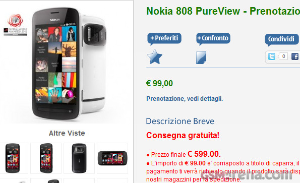 Nokia 808 PureView on pre-order in Italy Officially, costs €600