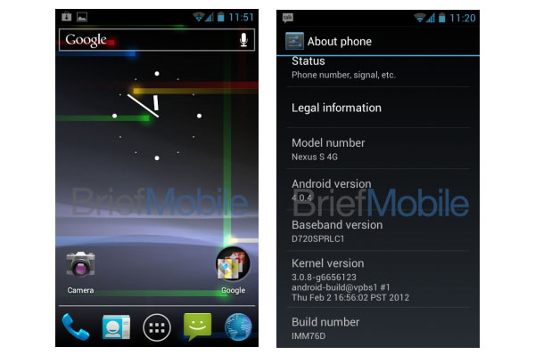 android 4.0.4 ota update for nexus s 4g leaks